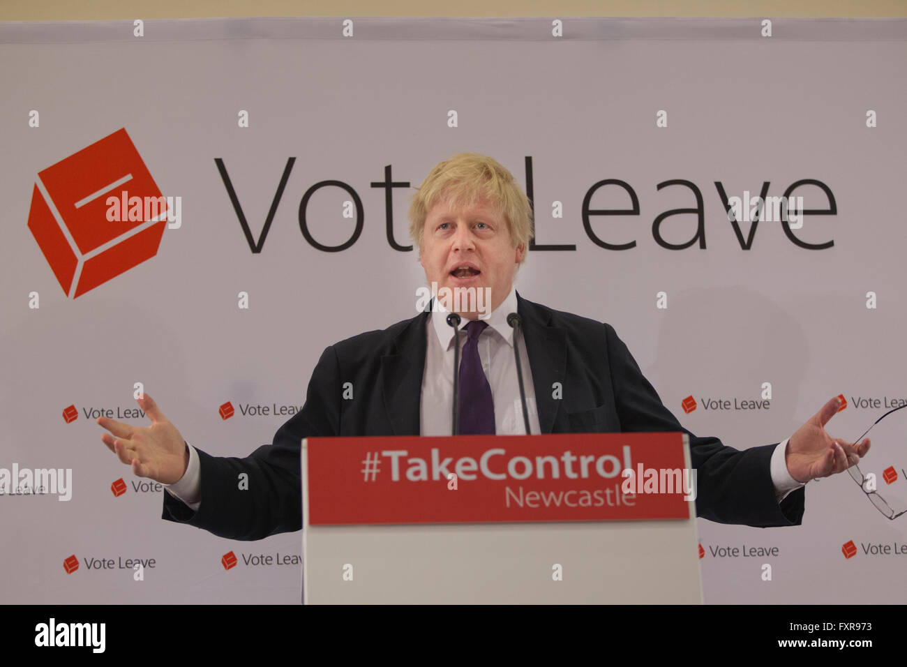Brexit 'VOTE LEAVE' rally held by Boris Johnson MP campaigning to leave the Euro on June 23rd referendum, - Stock Image