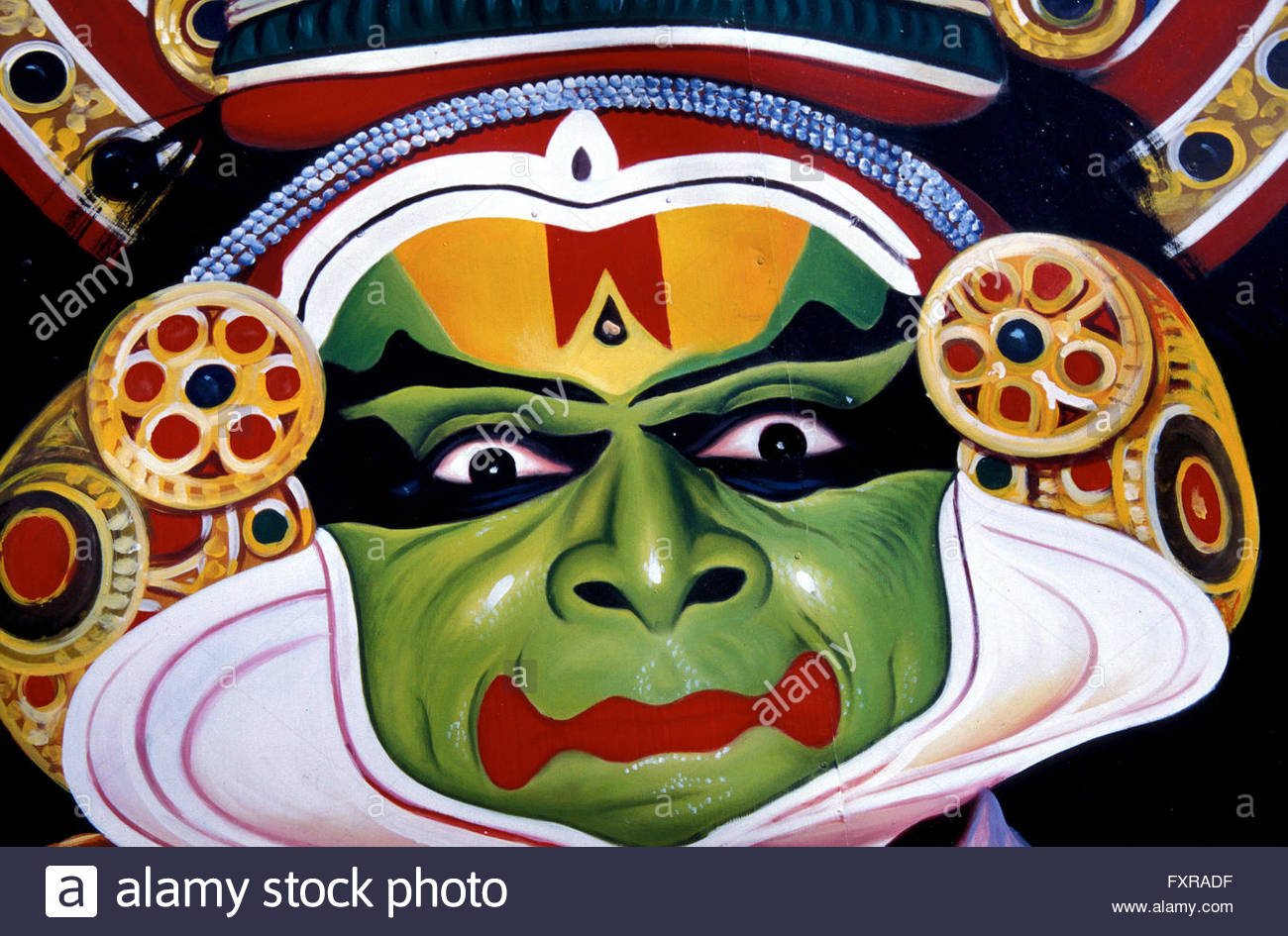 A poster of traditional Kathakali dance. This form of dance-drama is enacted in the courtyards of temples of Kerala,Southern Stock Photo