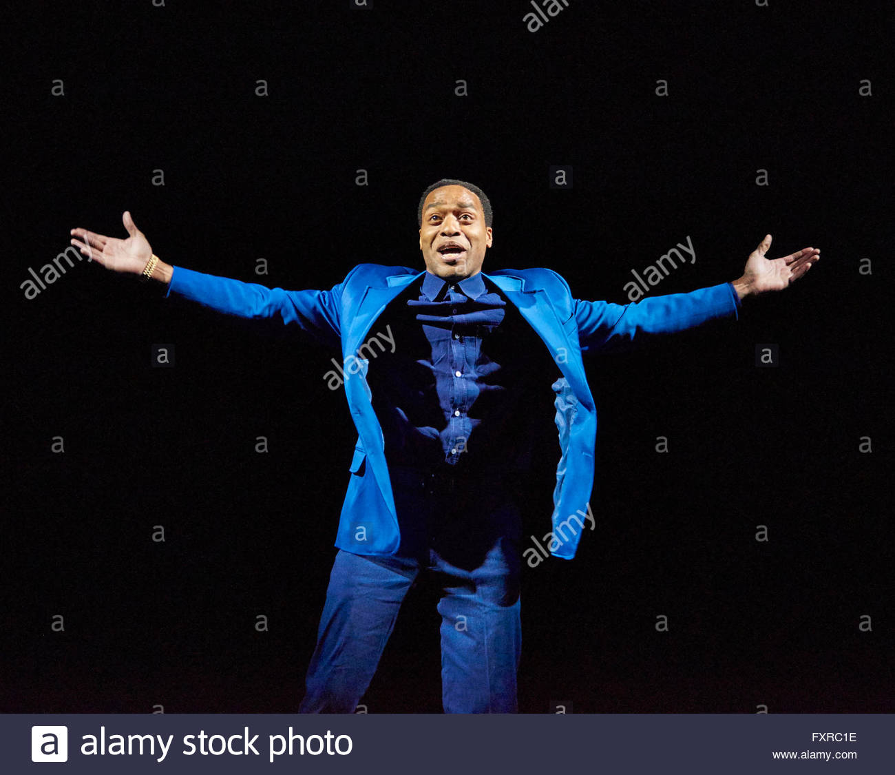 Everyman. A new adaption by Carol Ann Duffy directed by Rufus Norris. With Chiwetel Ejiofor as Everyman. Opens at - Stock Image