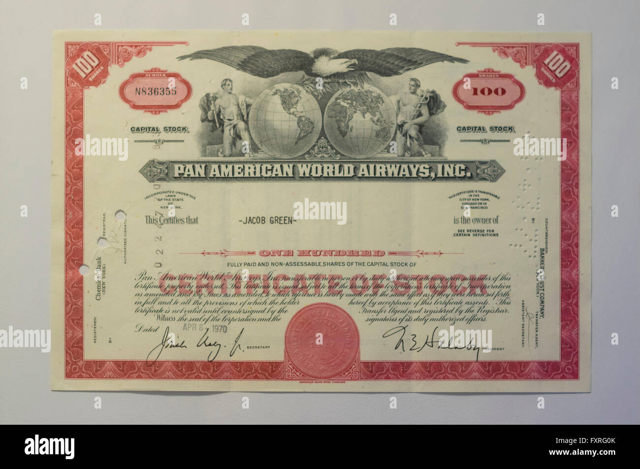 1970ies Pan American World Airways stock certificate. - Stock Image