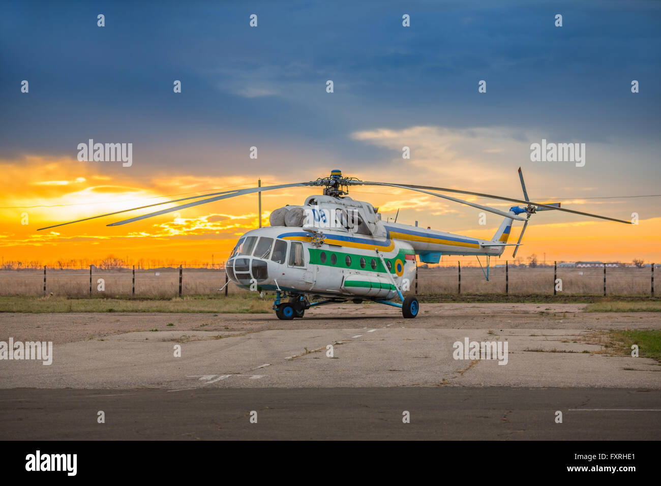 Helicopter parked at the helipad - Stock Image