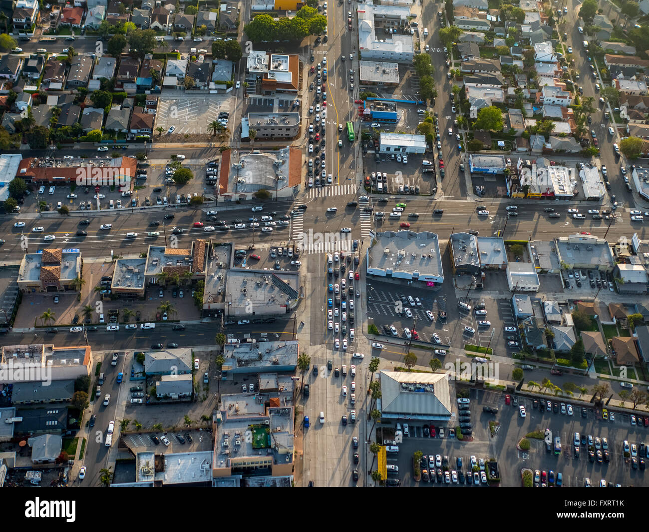 Aerial view, Santa Monica, Highway 1, Street intersection with crosswalk crossing, Marina del Rey, Los Angeles County,California - Stock Image