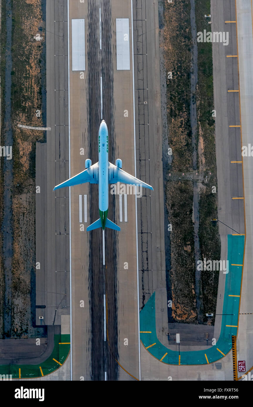 Aerial view, LAX, Los Angeles International Airport, runway, blasting jet, Los Angeles, Los Angeles County, California, - Stock Image