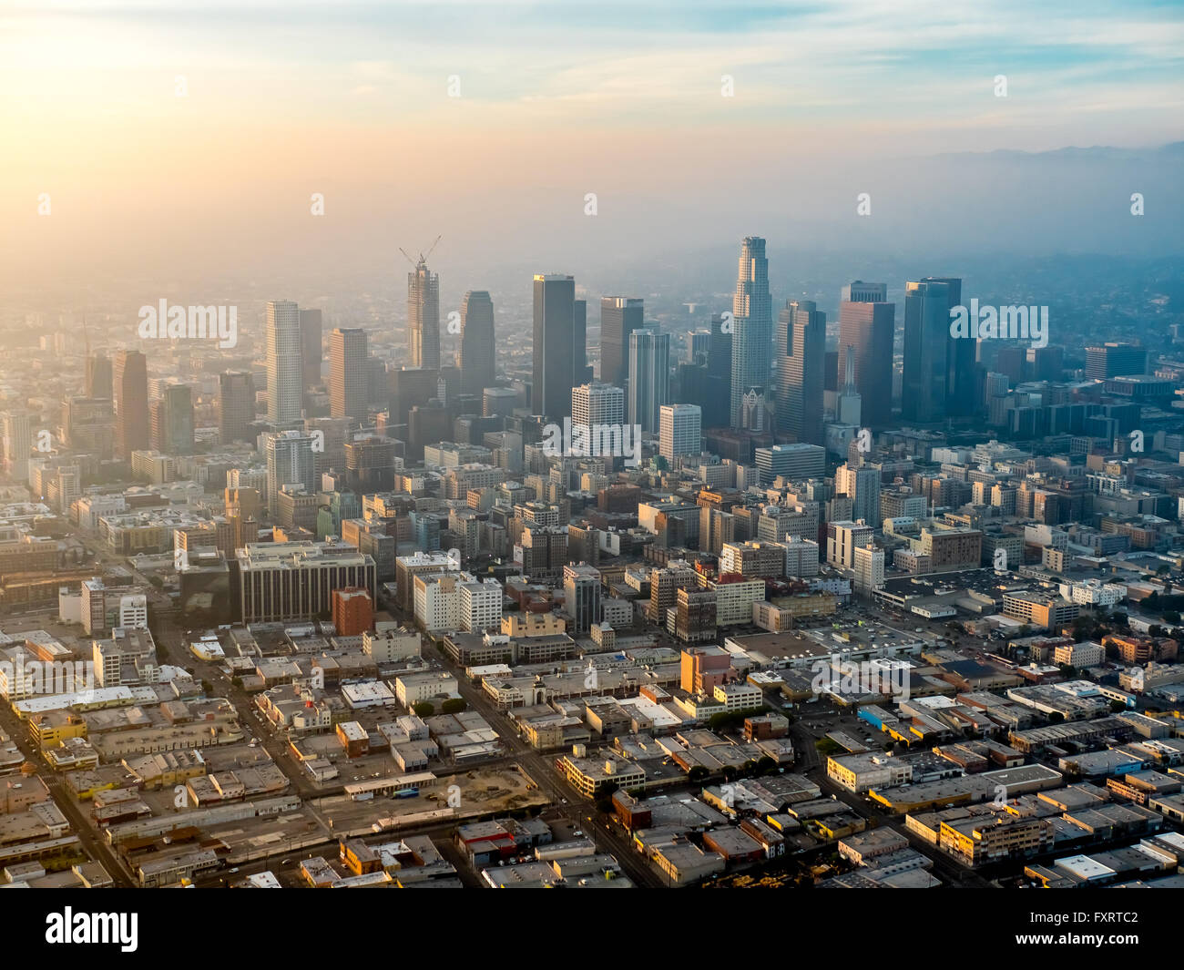 Aerial view, skyscrapers of downtown Los Angeles in the haze, smog, Los Angeles, Los Angeles County, California, - Stock Image