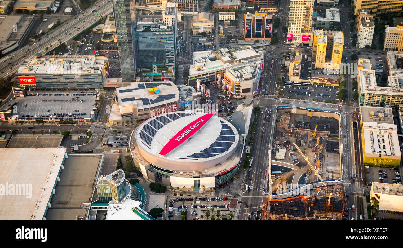 Aerial view, event hall Staples Center Los Angeles, Los Angeles, Los Angeles County, California, USA, United States - Stock Image