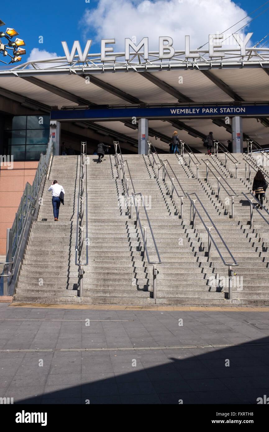 Entrance to Wembley Park Station near Wembley Stadium - Stock Image