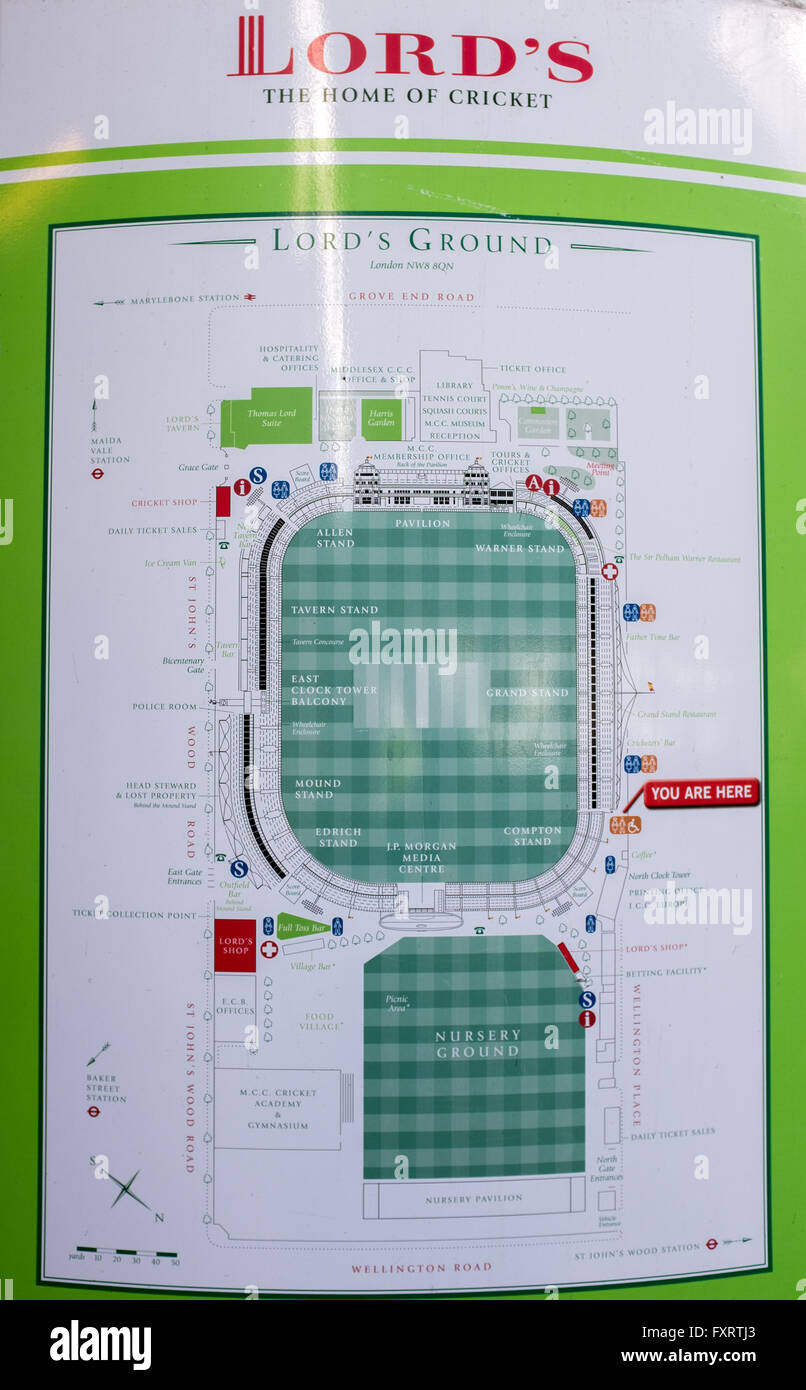 Lords Ground Map Map of Lord's cricket ground, St Johns Wood London UK Stock Photo