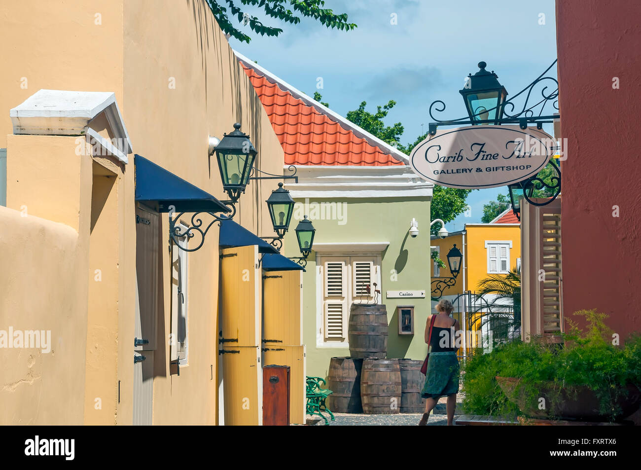 Historical preservation area with art gallery at Kura Hulanda, Ortrobanda Willemstad Curacao - Stock Image