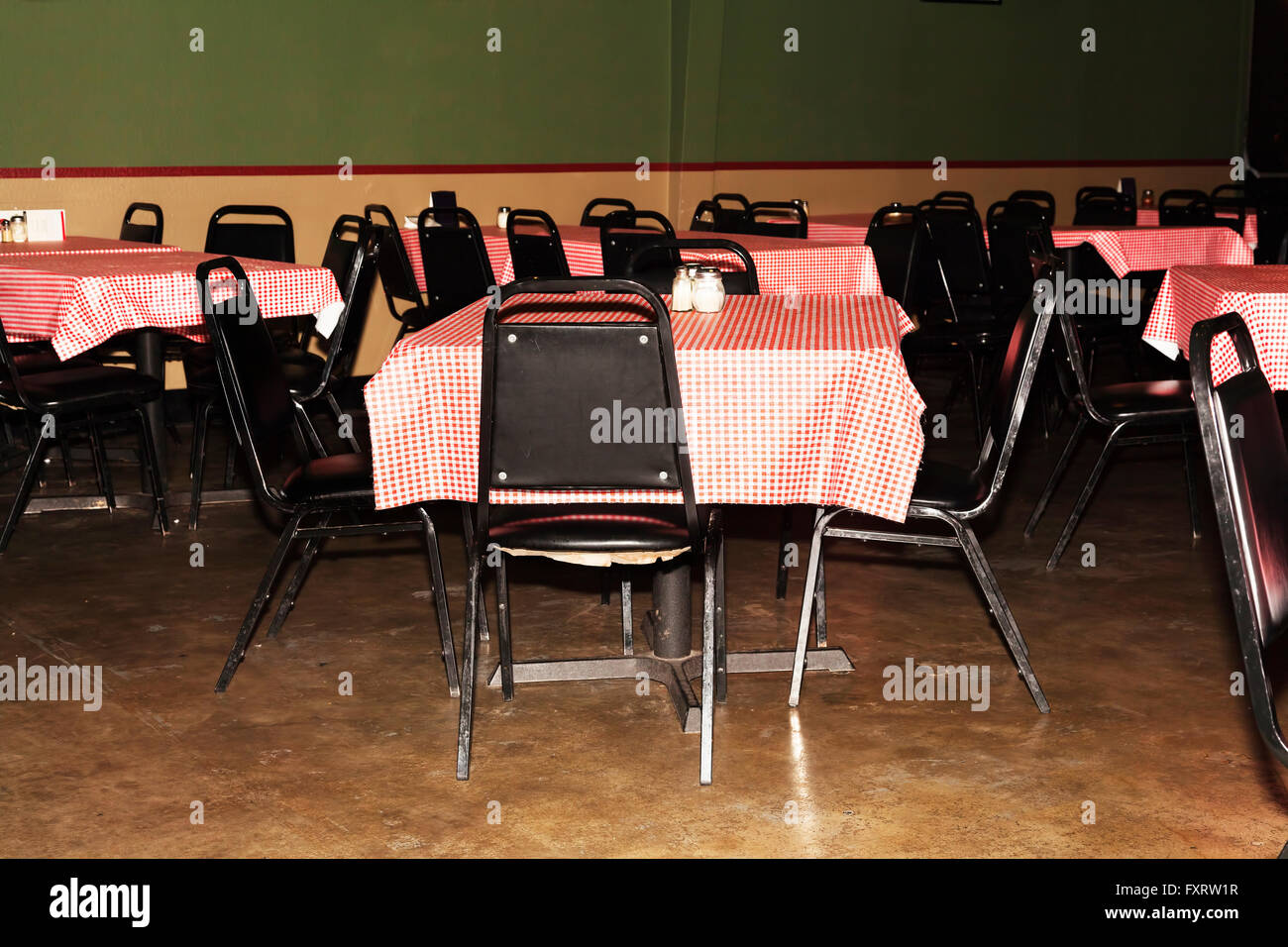 Empty Chairs And Tables At Inexpensive Restaurant - Stock Image