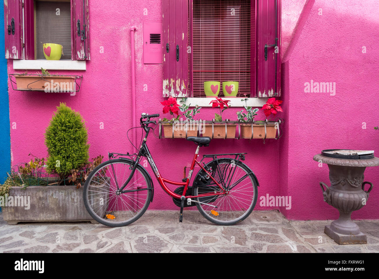 Venice - Island of Burano colorful colourful pink house with a bicycle - Stock Image