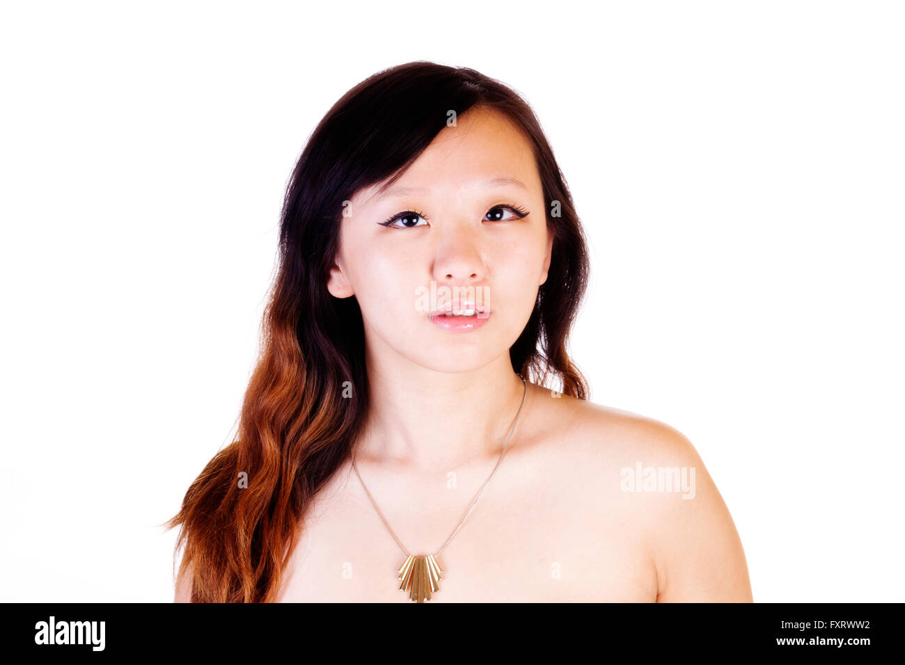 Bare Shoulder Portrait Young Chinese Woman With Necklace - Stock Image