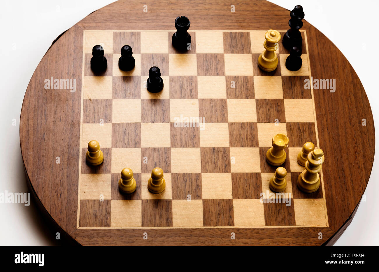 Checkmate Position On Old Magnetic Chess Board - Stock Image