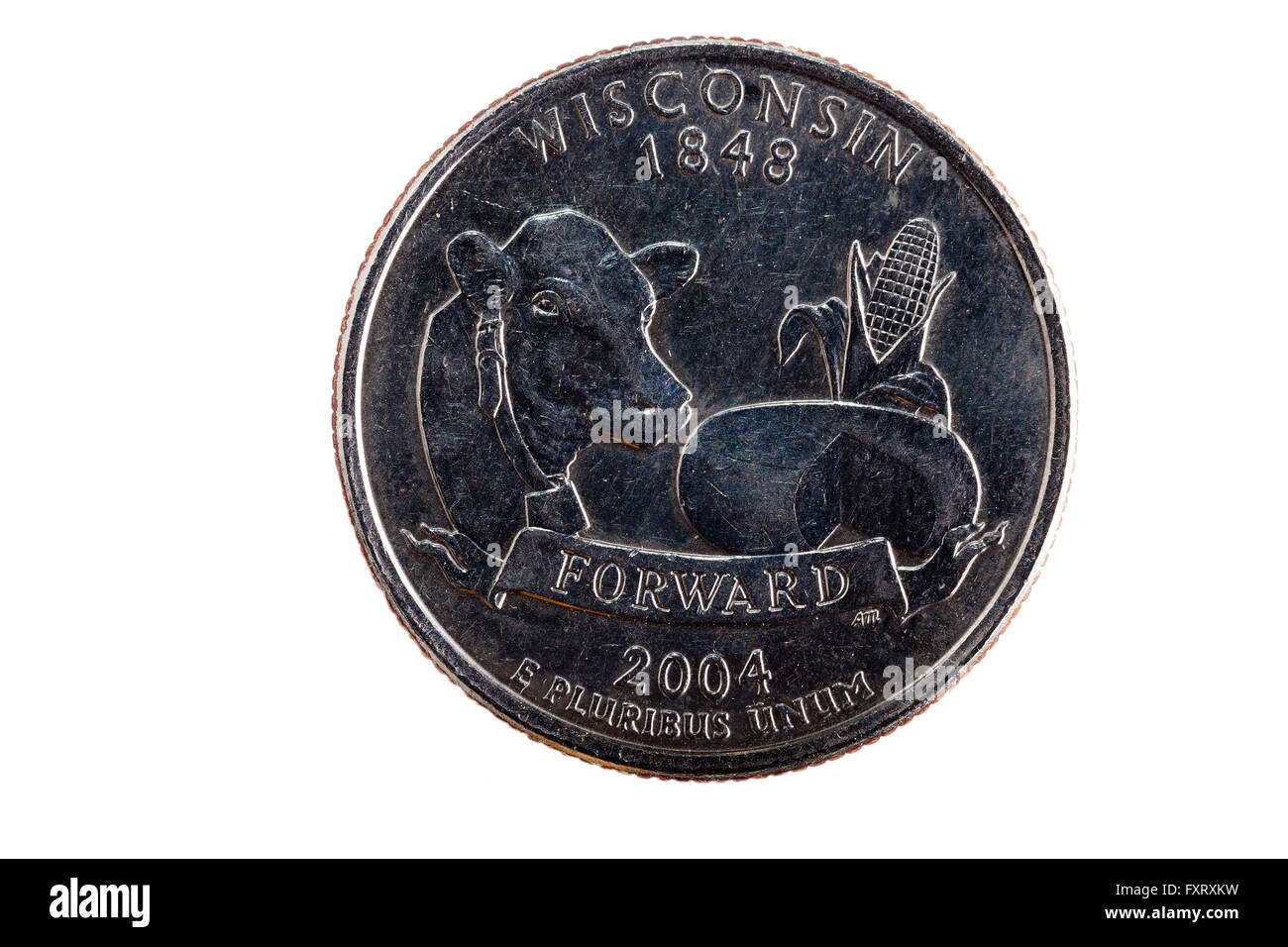 Coin Closeup Tail Side Of Wisconsin Quarter - Stock Image