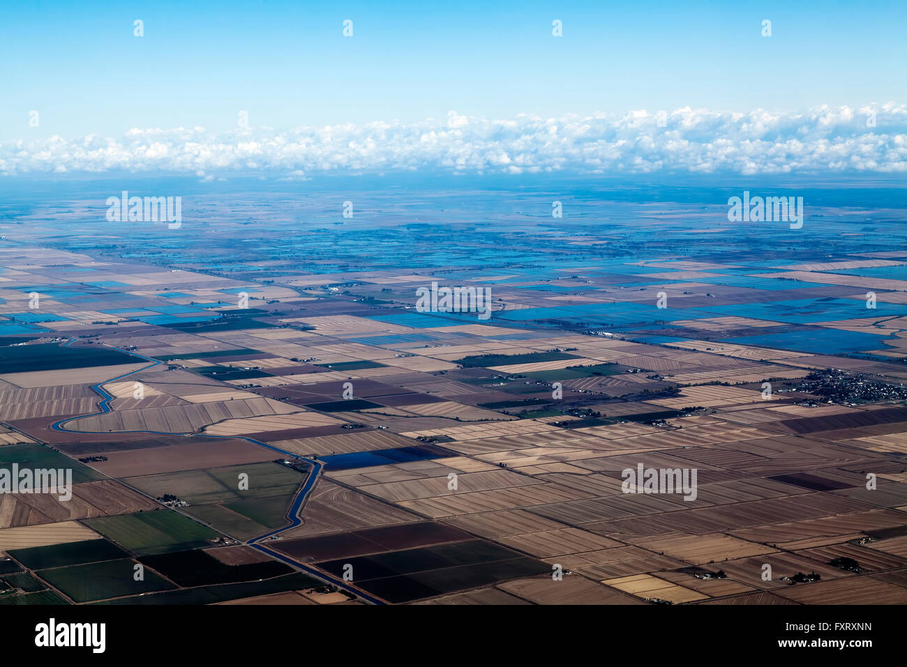 Aerial View Farm Land Irrigation Canals Water Northern California - Stock Image
