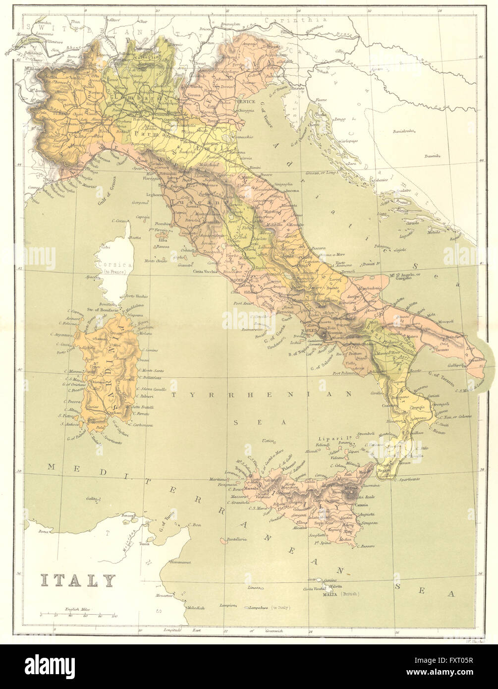 ITALY: Italy, c1885 antique map - Stock Image