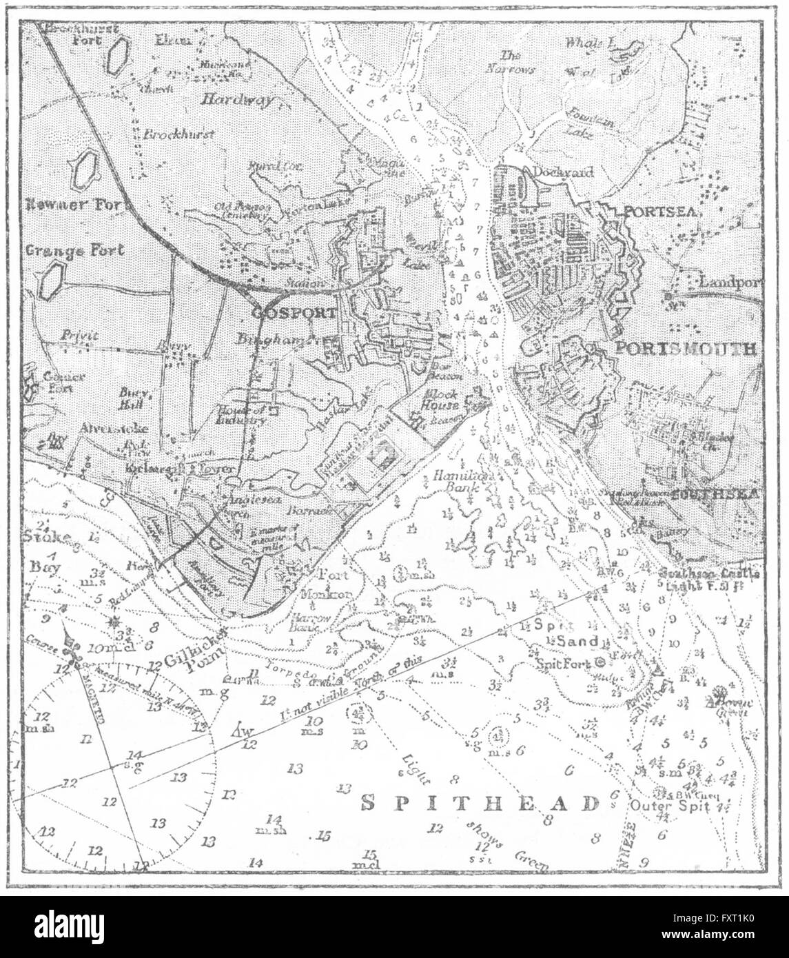 HANTS: Portsmouth, sketch map, c1885 - Stock Image