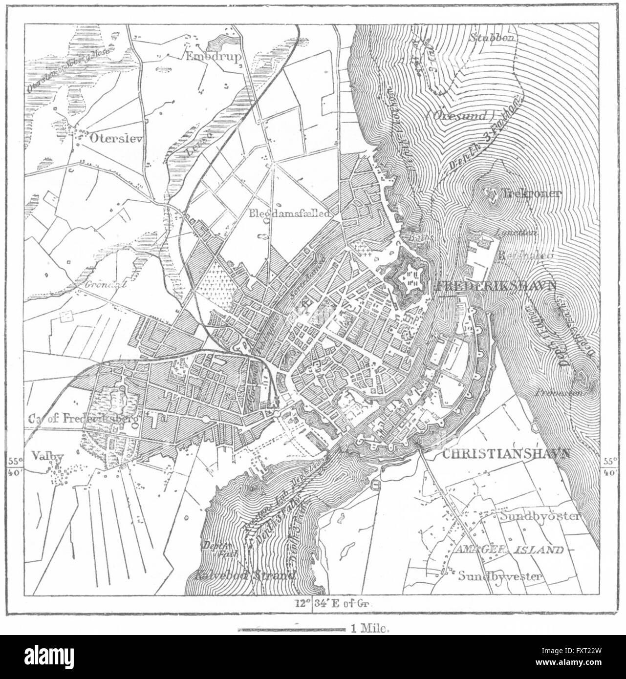 DENMARK: Copenhagen, sketch map, c1885 - Stock Image
