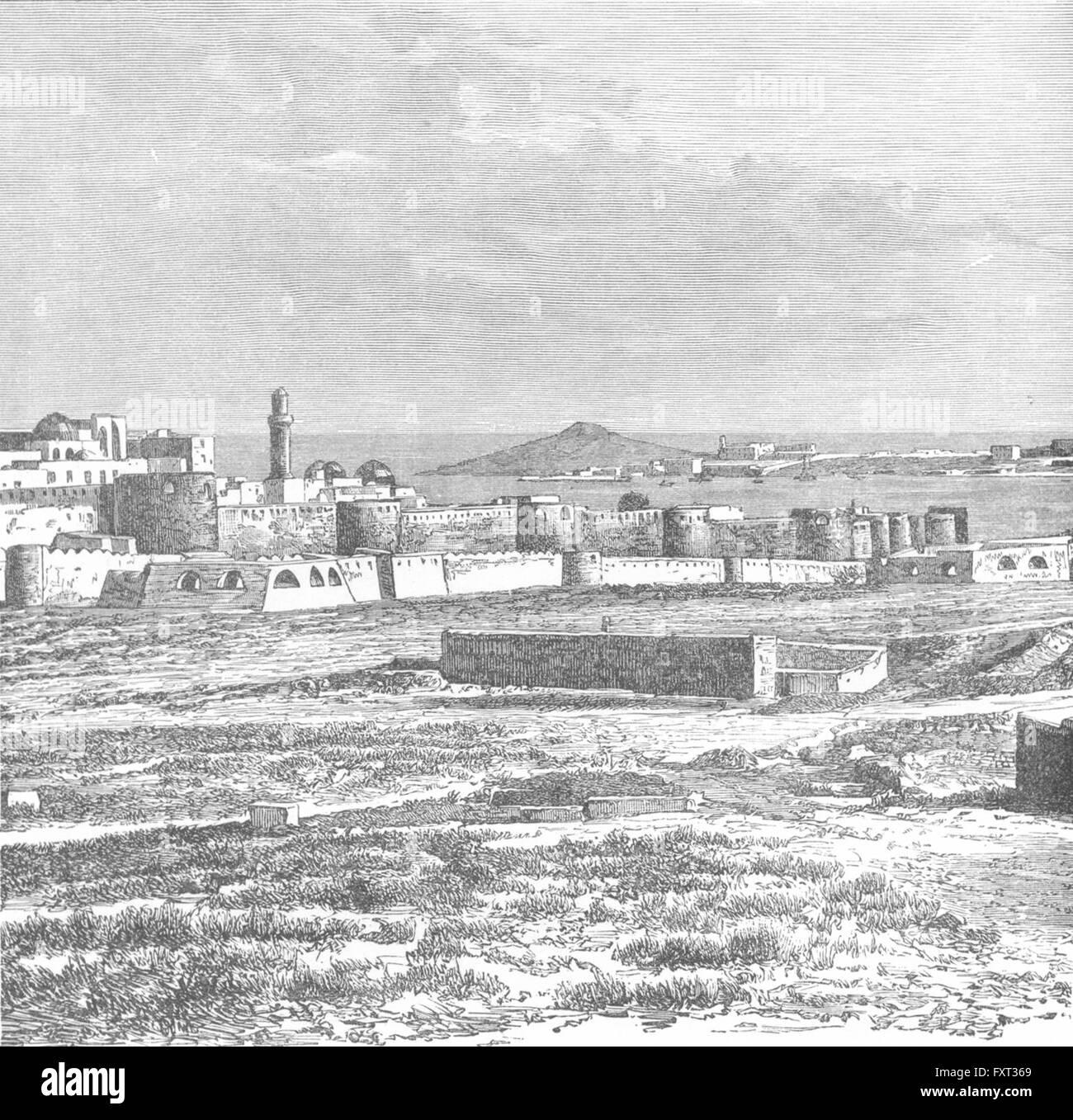 AZERBAIJAN: Baku & Cape Bail-Burni, antique print c1885 - Stock Image