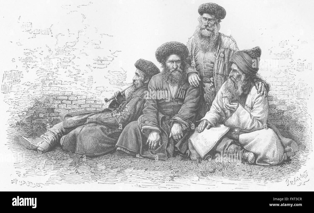 CAUCASUS: Jews of, antique print c1885 - Stock Image
