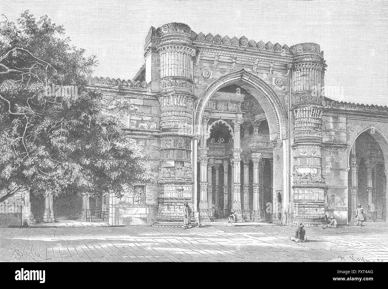 INDIA: Gateway of Great Mosque at Ahmedabad, antique print c1885 - Stock Image
