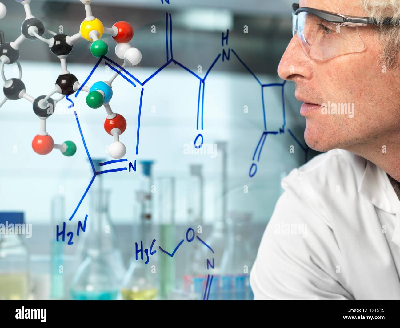 Scientist with ball and stick molecular model looking at new drug formula written on glass - Stock Image