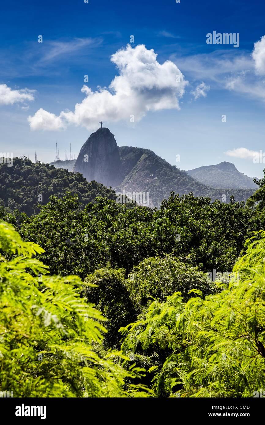 Christ the redeemer statue, Corcovado, Rio de Janeiro, Brazil - Stock Image