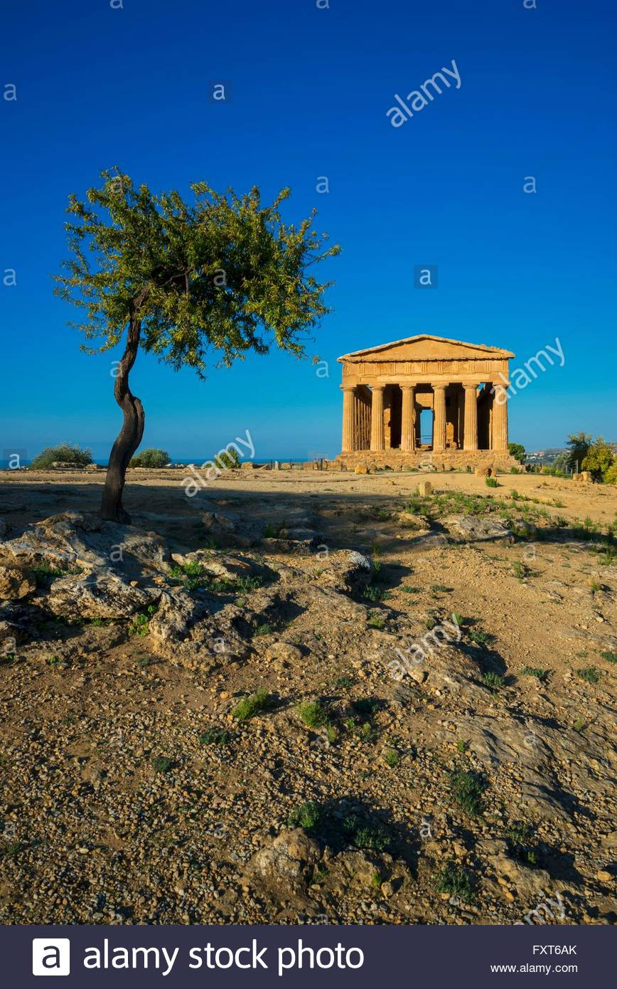 View of the Temple of Concordia, Valley of the Temples, Agrigento, Sicily, Italy - Stock Image