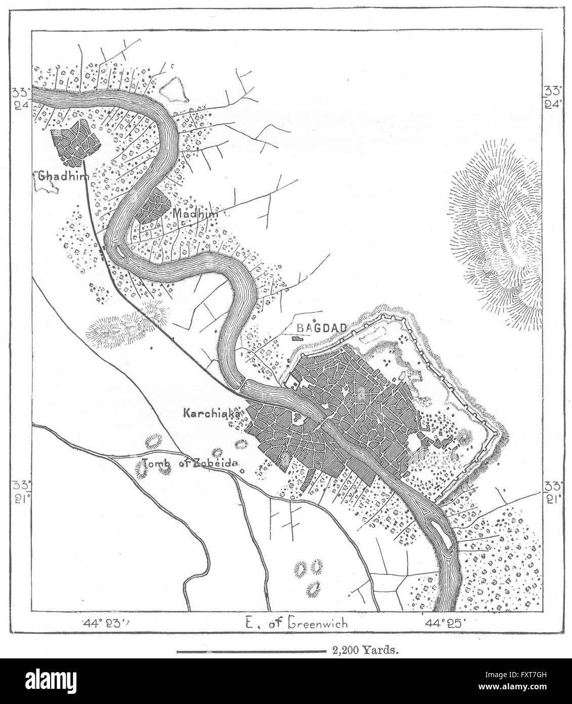 iraq baghdad sketch map c1885 stock image
