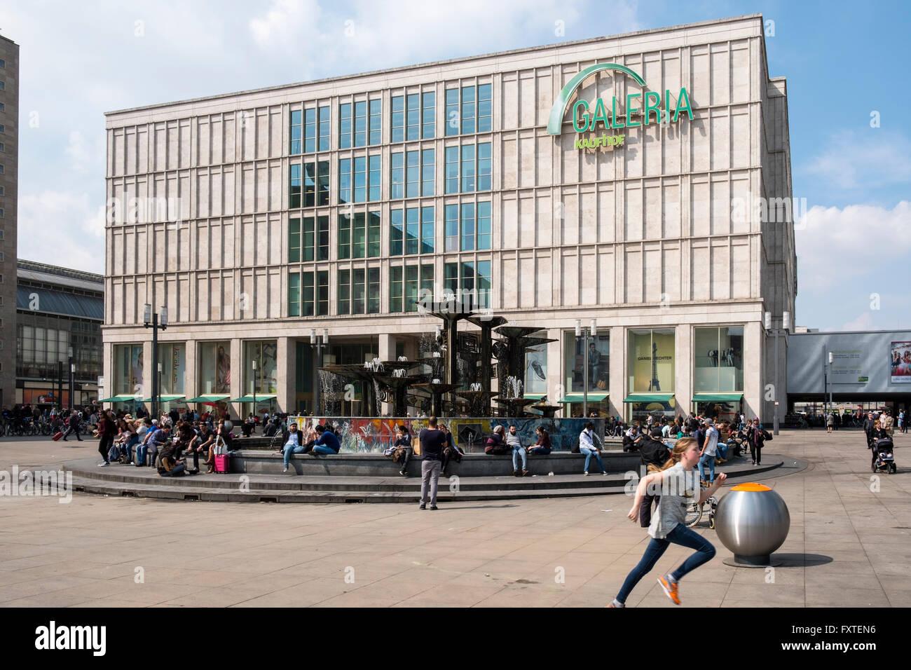 Exterior view of Galleria Kaufhof department store in Alexanderplatz, Mitte Berlin Germany - Stock Image