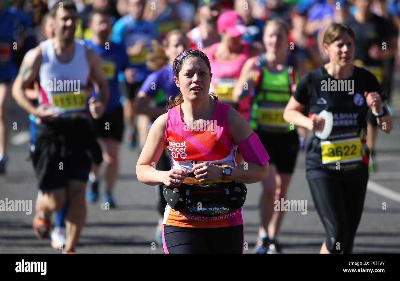 Runners take part in the 2016 Brighton Marathon. - Stock Image