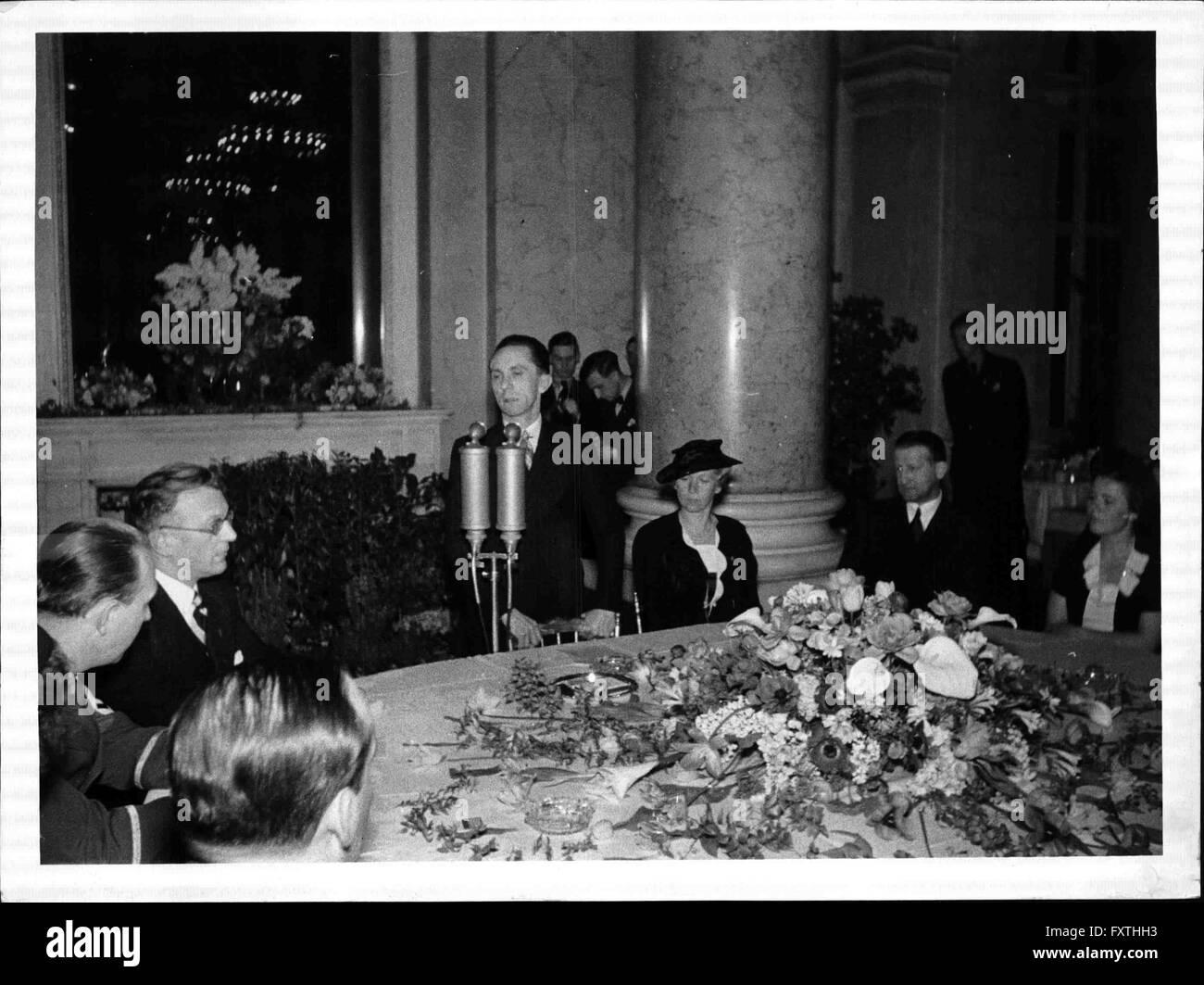 Empfang der Film- und Bühnenschaffenden Wiens durch Goebbels - Stock Image