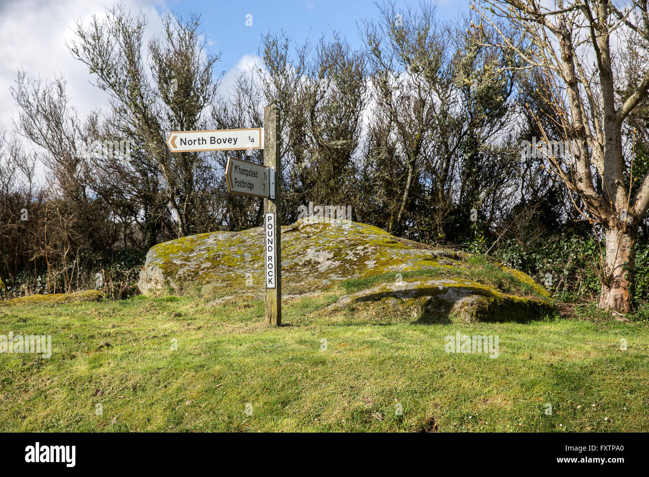 signpost at North Bovey,North Bovey is a village and civil parish situated on the south-eastern side of Dartmoor - Stock Image