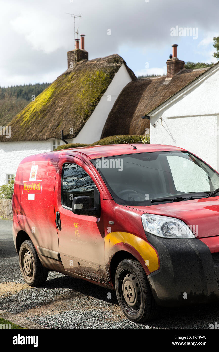post office van at North Bovey,rural delivery,rural postal service,royal mail,North Bovey is a village and civil - Stock Image
