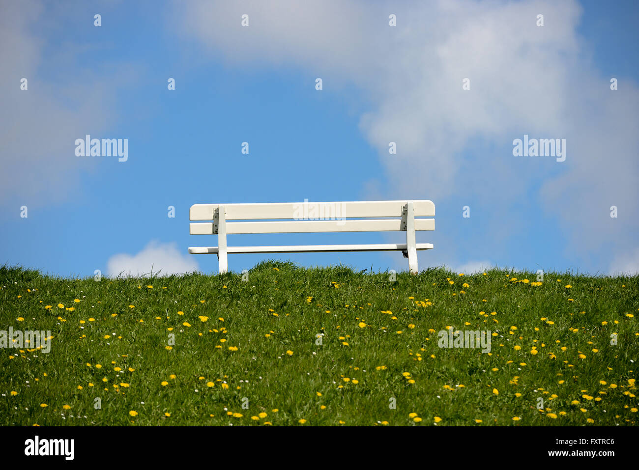 empty bench on dike near cuxhaven - Stock Image