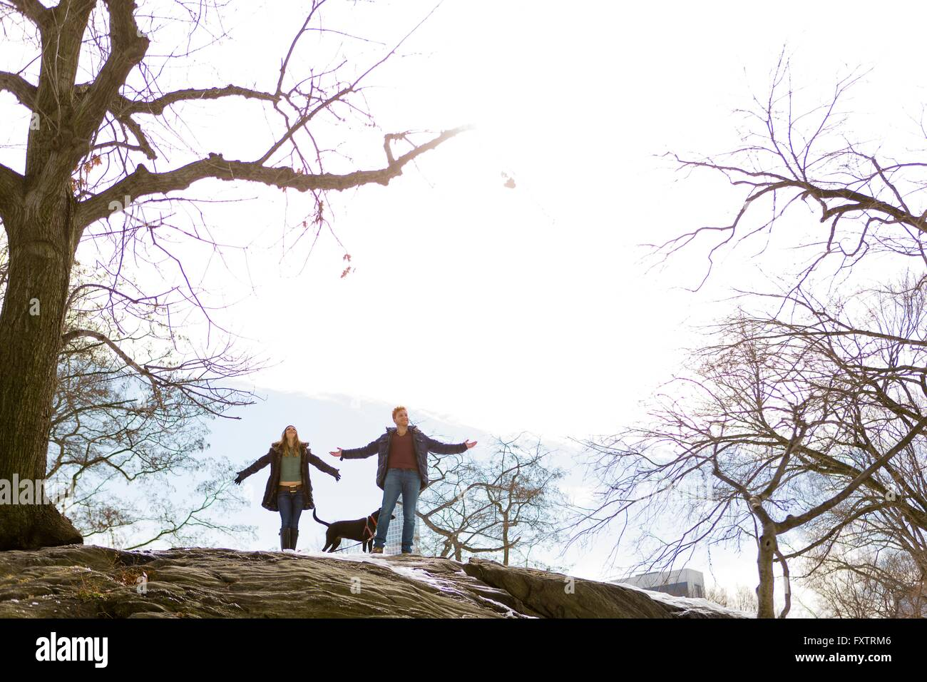 Young couple and dog standing rock in Central Park, New York, USA - Stock Image