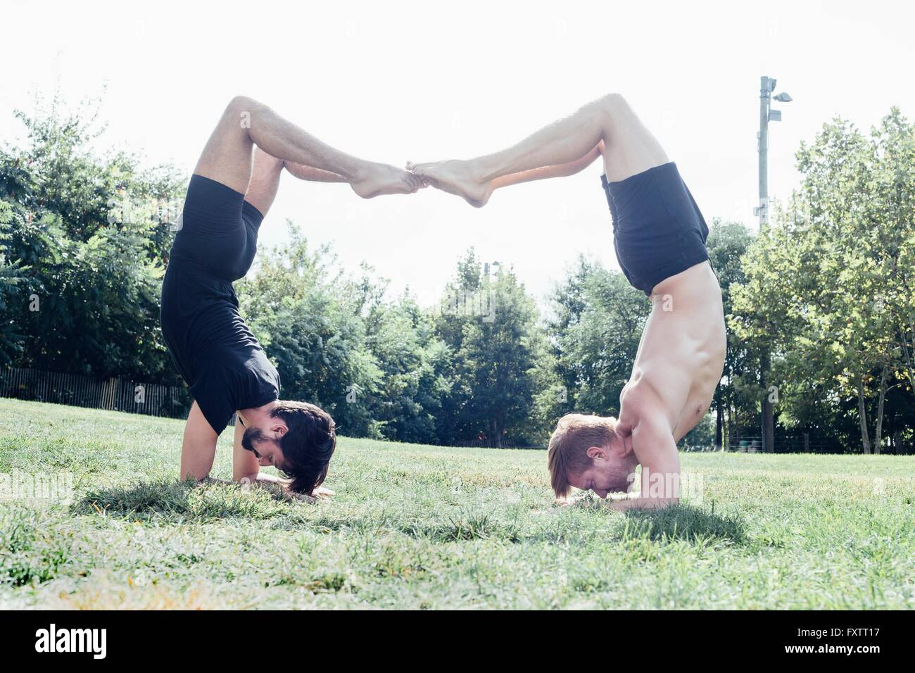 Two men poised upside down in yoga position in park - Stock Image