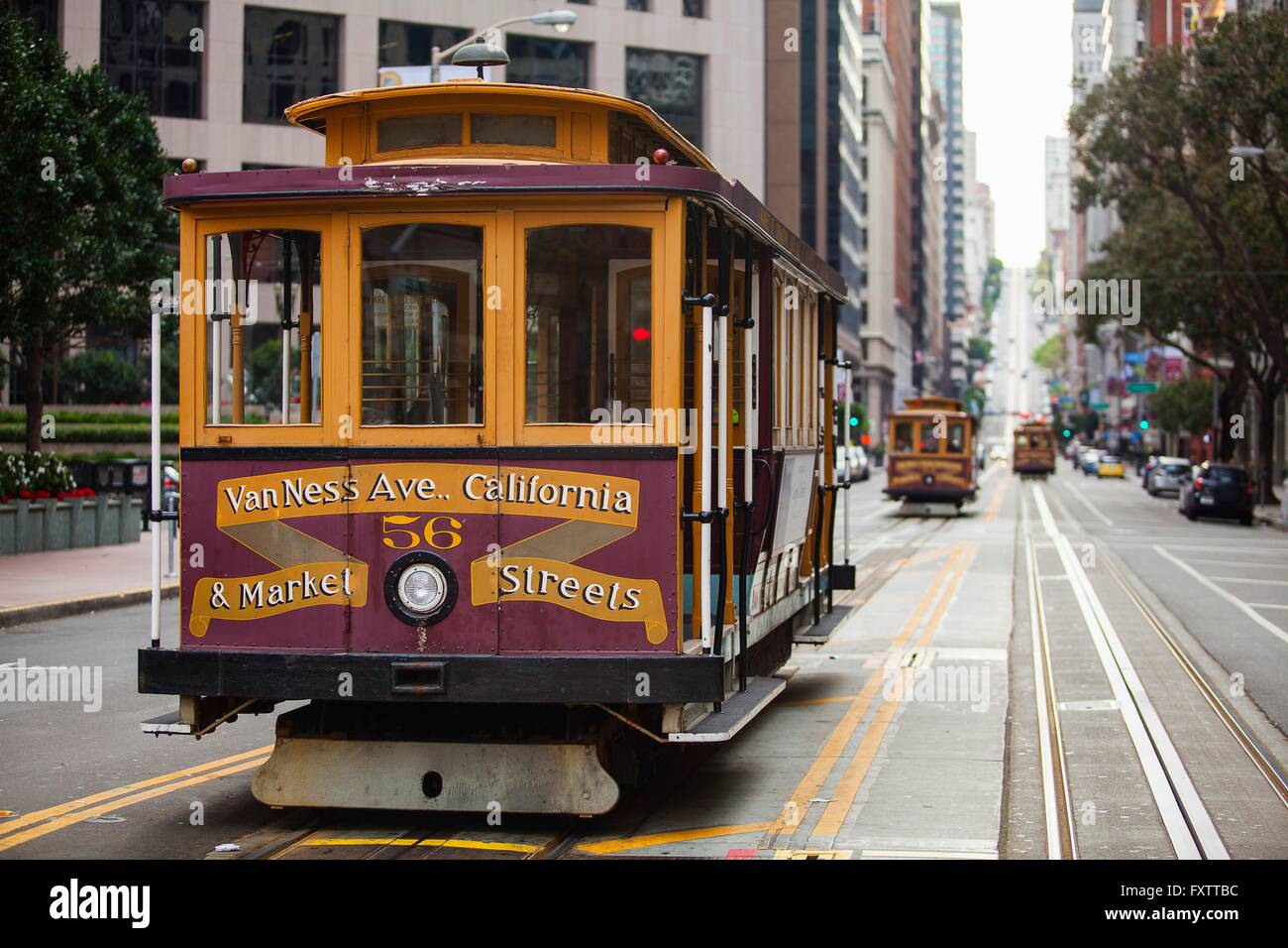 Traditional trams and tramlines, San Francisco, California, USA Stock Photo