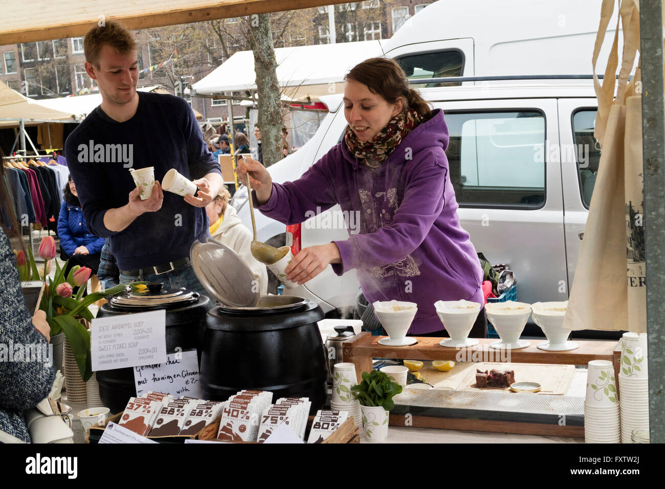 Selling homemade soup at the market in Amsterdam, Holland - Stock Image