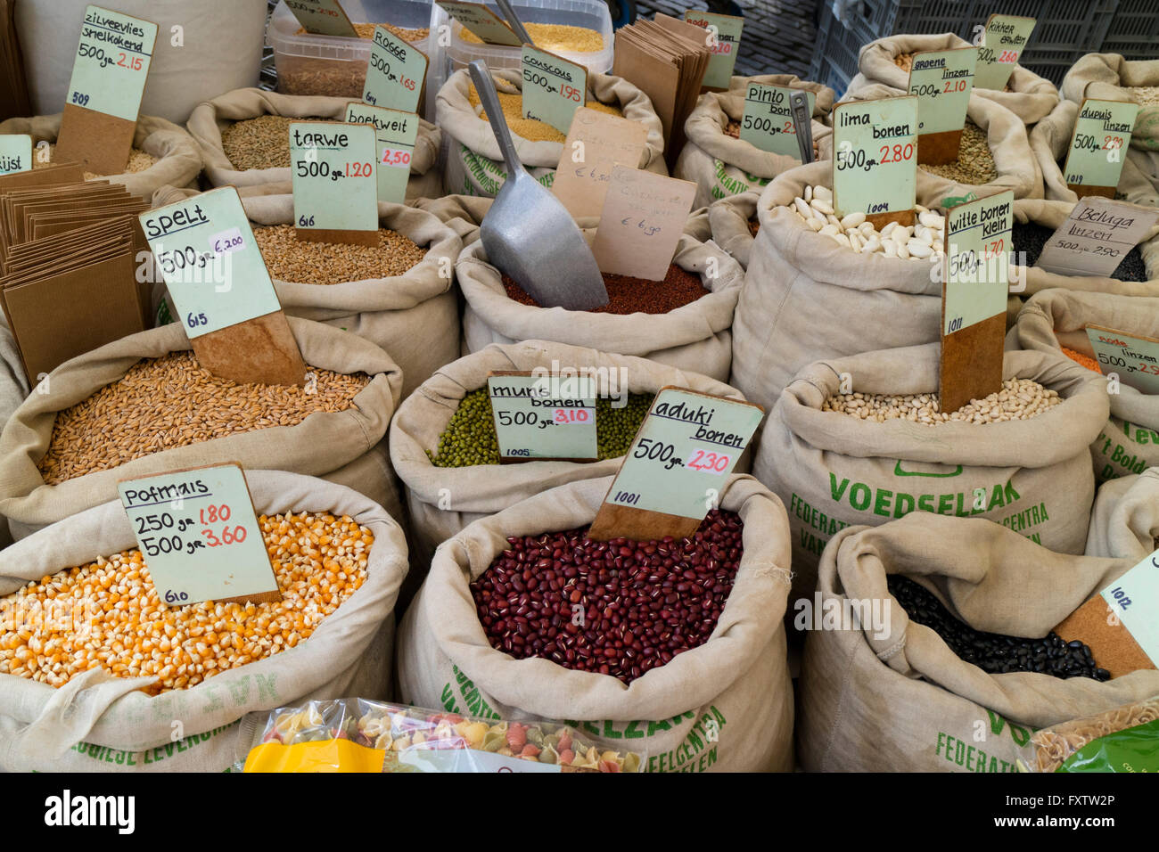 Variety of legumes for sale on the Noordermarket in Amsterdam - Stock Image
