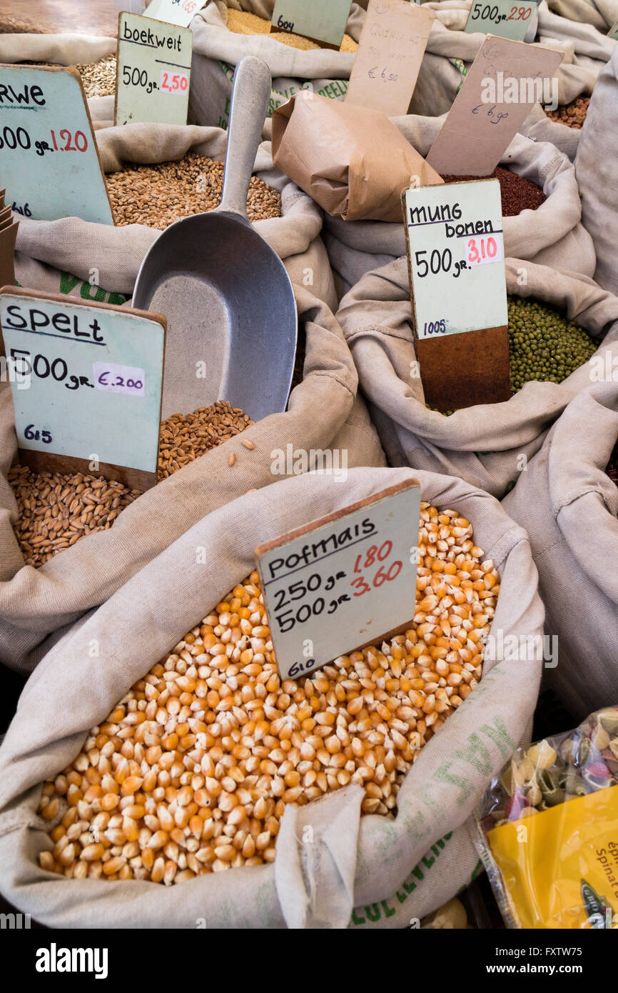 Variety of pulse for sale on the market in Amsterdam - Stock Image