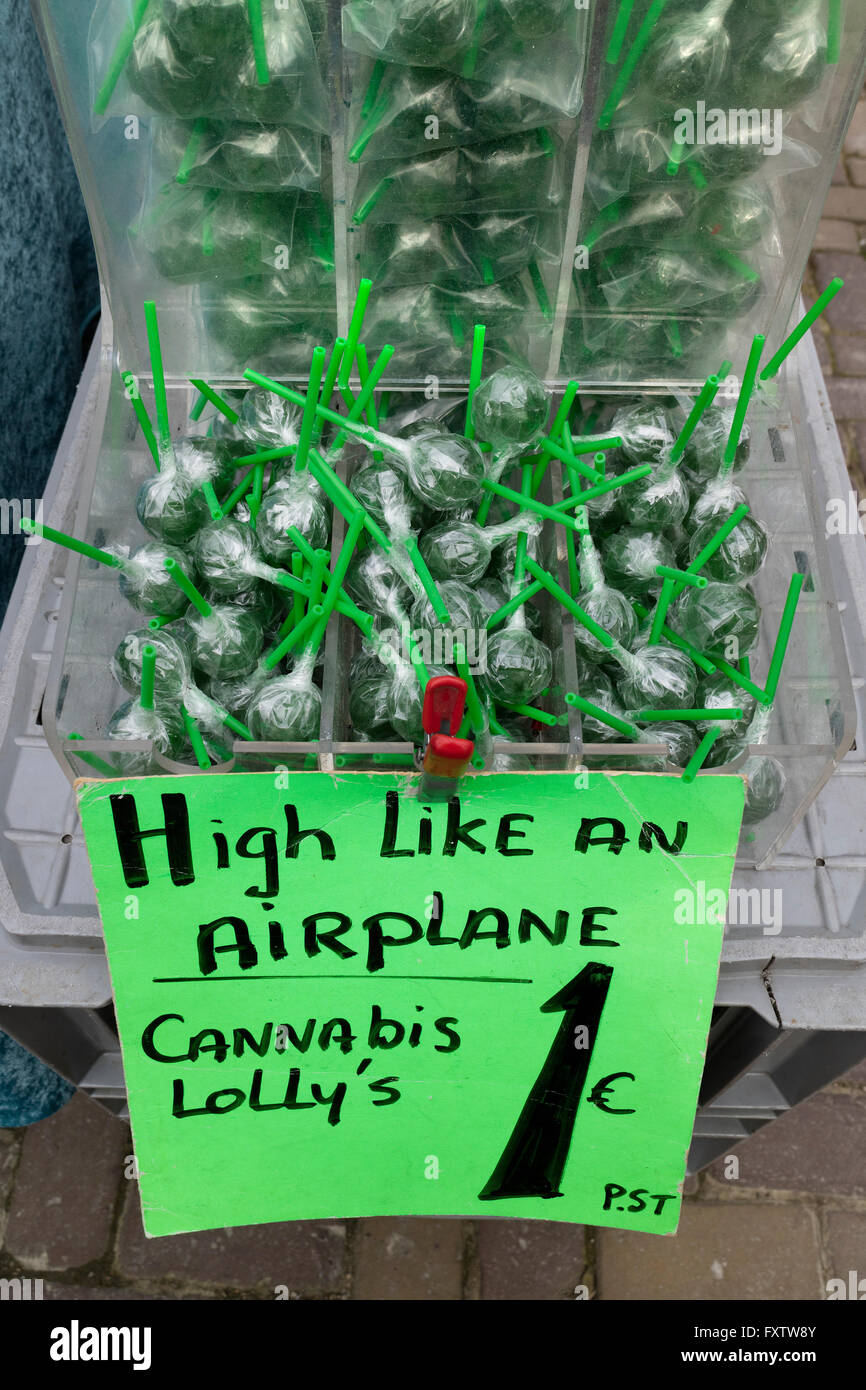 Cannabis lollipops for sale on the market in Amsterdam - Stock Image