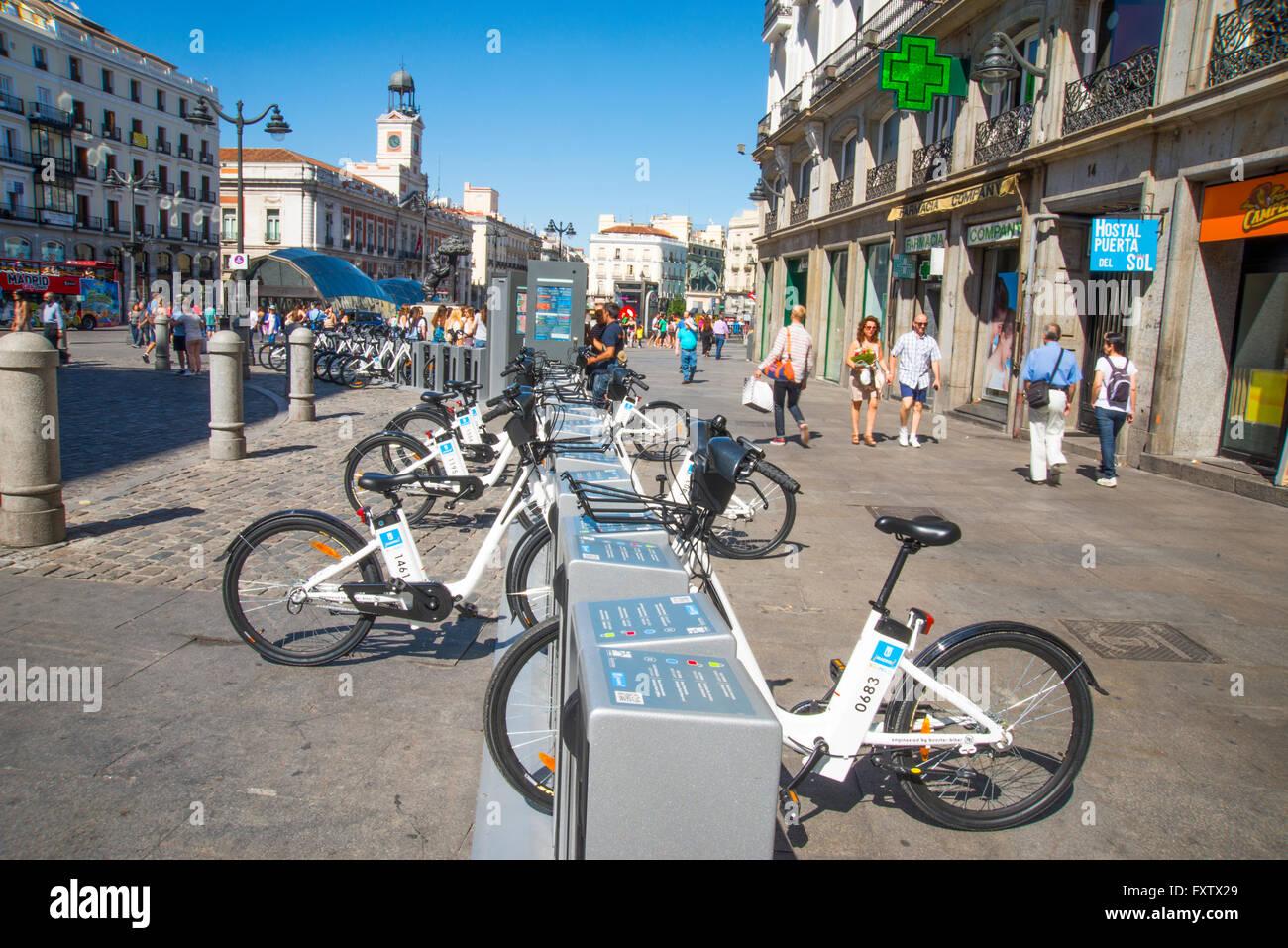 BiciMad bike parking. Puerta del Sol, Madrid, Spain. - Stock Image