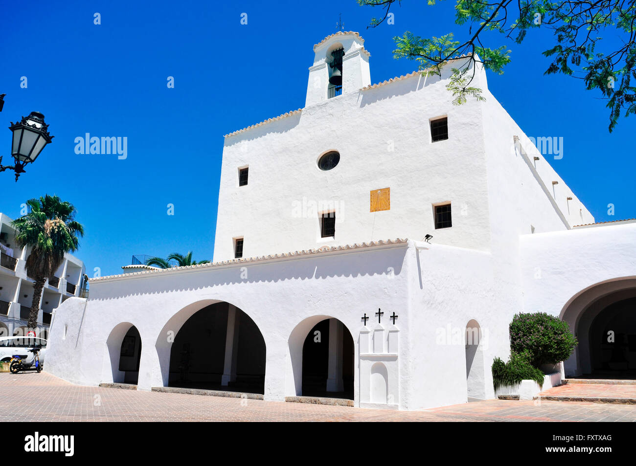a view of the whitewashed facade of Sant Josep Church, built in 1727, in Sant Josep de Sa Talaia, in Ibiza Island, - Stock Image