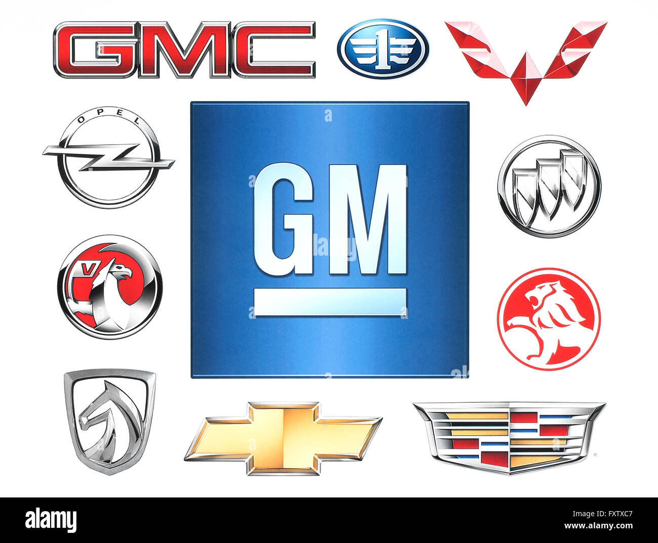 KIEV, UKRAINE - February 1, 2016:Brands of General Motors Company printed on paper - Stock Image