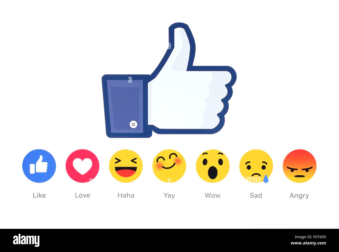 New Facebook like button 6 Empathetic Emoji Reactions printed on white paper. - Stock Image