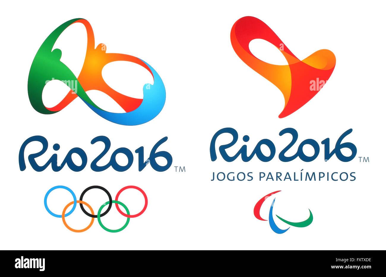 e13db289739 Official logos of the 2016 Summer Olympic Games in Rio de Janeiro ...