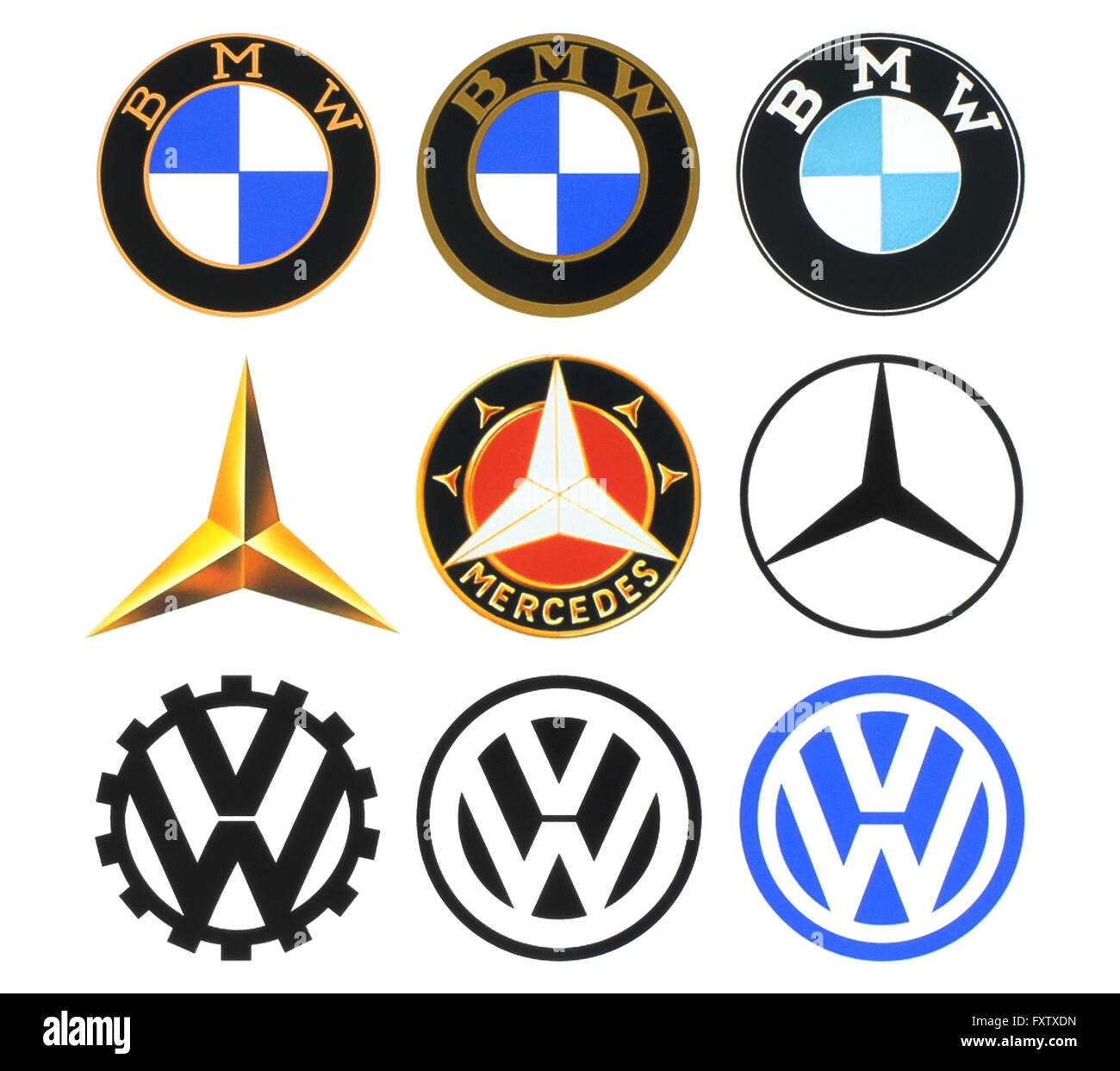 Kiev, Ukraine - March 16, 2016: Collection of retro car logos printed on white paper: Volkswagen, BMW and Mercedes - Stock Image