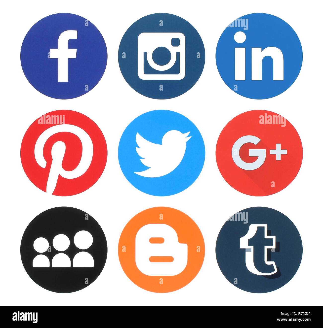 Kiev, Ukraine - March 18, 2016: Collection of popular round social media logos printed on paper:Facebook, Twitter, - Stock Image