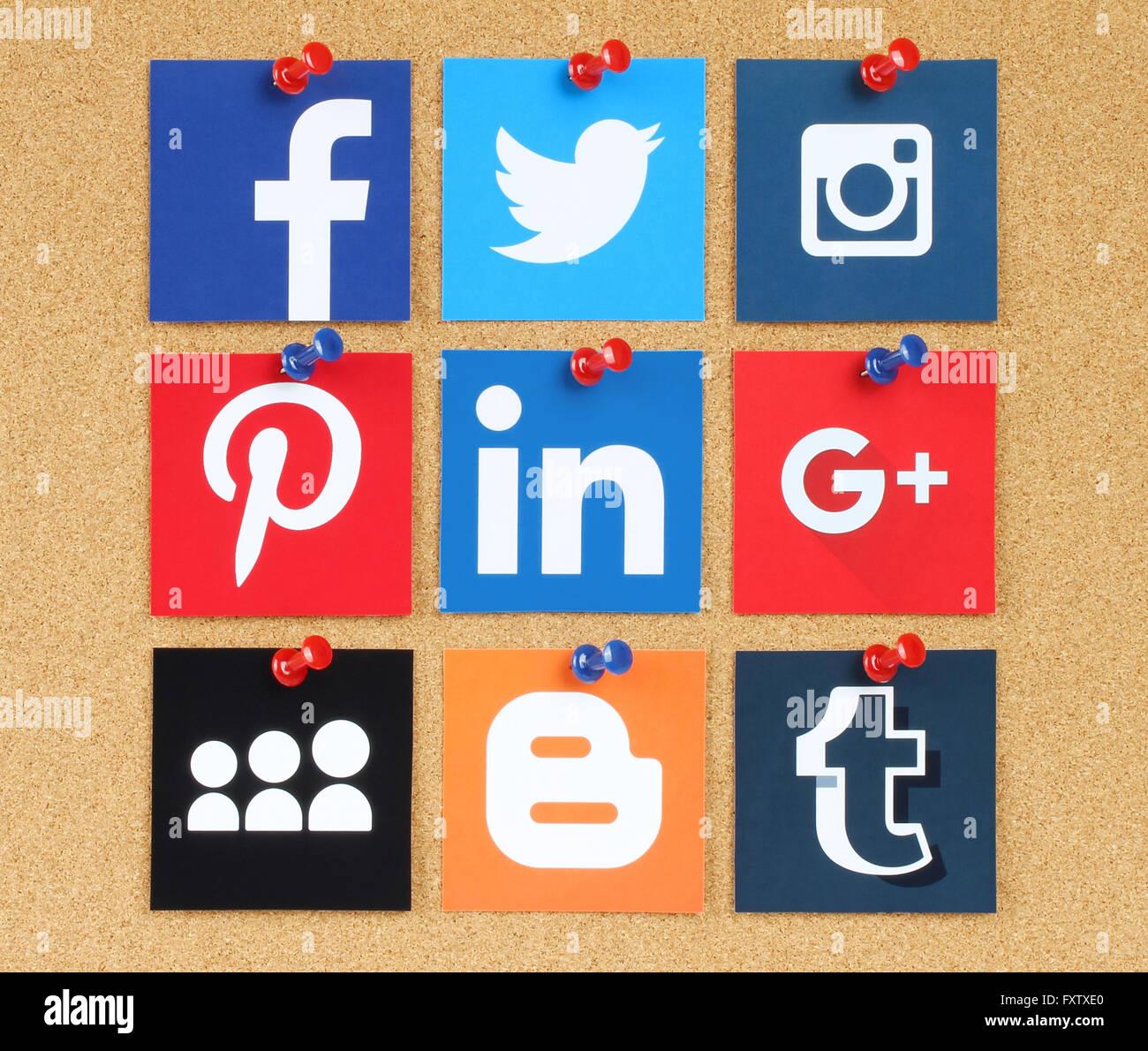 Kiev, Ukraine - March 24, 2015: Famous social media icons