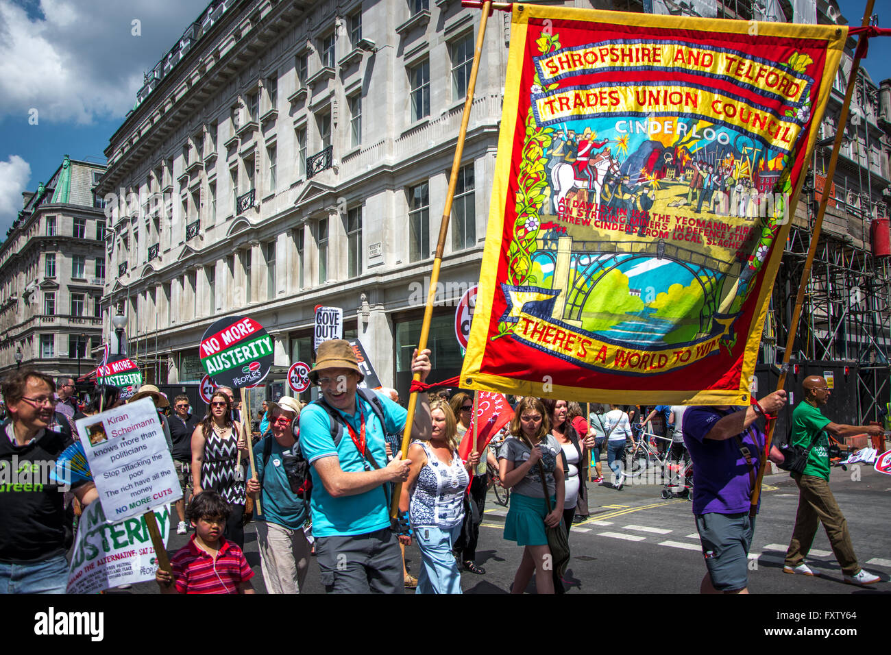Trade Unionists at People's Assembly march/ rally 'No More Austerity', June 21, 2014 London - Stock Image